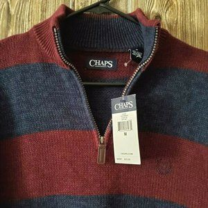 CHAPS MENS (M) MAROON & BLUE 1/2 ZIP SWEATER NWT